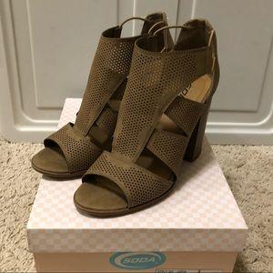 Taupe Bootie Sandals with block heel